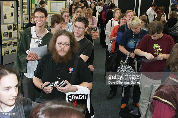 Fans queue for autographs from members of the cast of the Lord of the Rings at The Fellowship Festival 2004 aimed at J R R Tolkien fans at Alexandra...