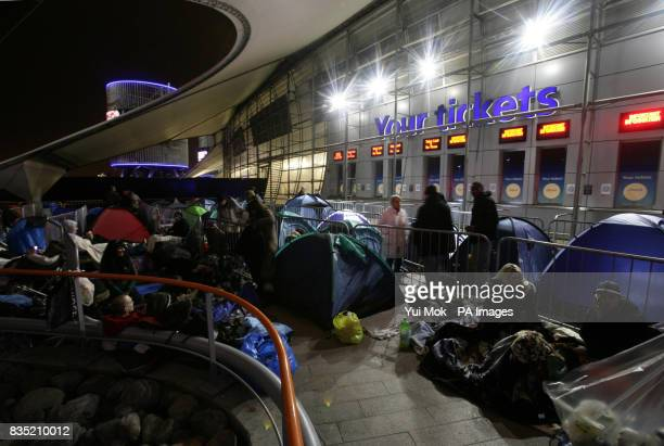 Fans queue for Michael Jackson concert tickets at The O2 in Greenwich, London, before they go on sale at 7am on Friday March 13,