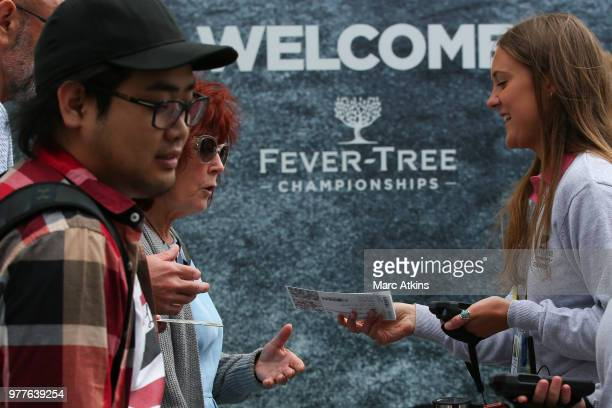 Fans queue outside the main gate prior to Day 1 of the FeverTree Championships at Queens Club on June 18 2018 in London United Kingdom