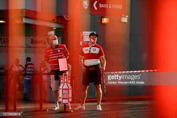 Fans queuing for food and drink before the Gallagher Premiership Rugby match between Gloucester Rugby and Harlequins at Kingsholm Stadium on...
