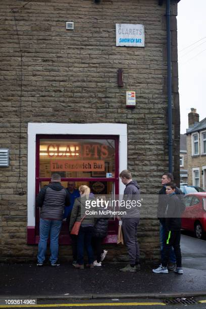 Fans queuing for refreshments at a sandwich bar near the stadium before Burnley hosted Everton in an English Premier League fixture at Turf Moor...
