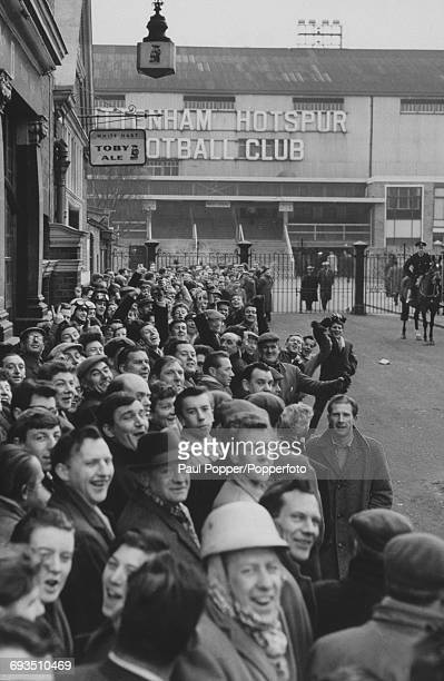Fans queuing for tickets outside Tottenham Hotspur's White Hart Lane ground London before Spurs' FA Cup quarterfinal tie against Aston Villa 10th...