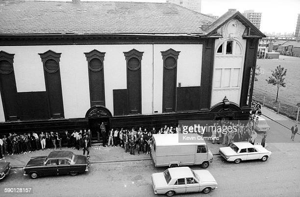 Fans queuing outside the Electric Circus music venue formerly the Palladium cinema in Collyhurst Manchester 29th May 1977 On the bill are Warsaw in...