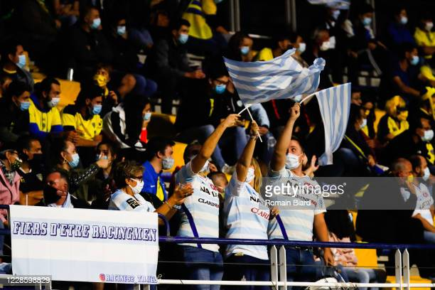 Fans Racing92 during the Quarter-Final Champions Cup match between Clermont and Racing92 at Stade Marcel Michelin on September 19, 2020 in...