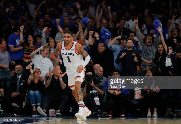 Fans react after a slam dunk by Obi Toppin of the New York Knicks during the second half against the Boston Celtics at Madison Square Garden on...