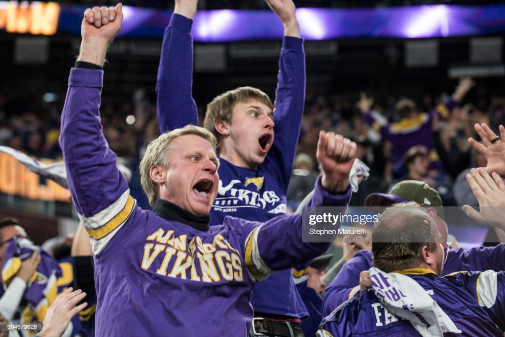 Fans react after Stefon Diggs #14 of the Minnesota Vikings scored a 61 yard touchdown at the end of the fourth quarter of the NFC Divisional Playoff game against the New Orleans Saints on January 14, 2018 at U.S. Bank Stadium in Minneapolis, Minnesota. The Vikings defeated the Saints 29-24.