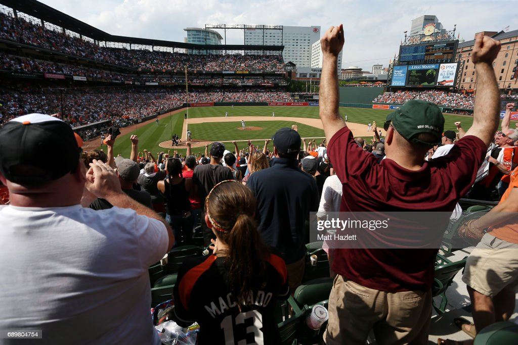 Fans react after the Baltimore Orioles defeated the New York Yankees 3-2 at Oriole Park at Camden Yards on May 29, 2017 in Baltimore, Maryland.