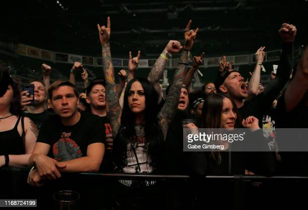 Fans react as Carcass performs during Psycho Las Vegas at the Mandalay Bay Events Center on August 17, 2019 in Las Vegas, Nevada.
