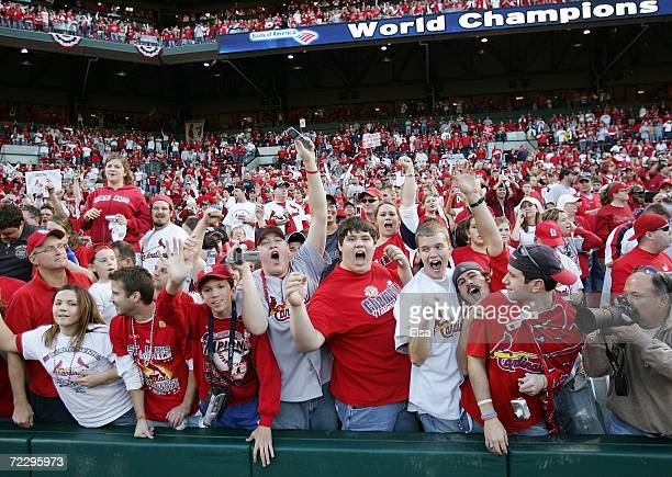Fans react as manager Tony LaRussa walks by after the St. Louis Cardinals World Series Victory Parade and Rally at Busch Stadium on October 29, 2006...
