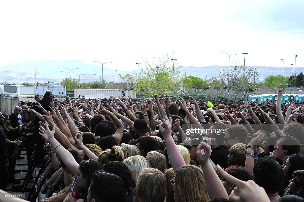 Fans react as the band Chelsea Grin performs during the 18th annual Extreme Thing Sports & Music Festival on March 30, 2013 in Las Vegas, Nevada.