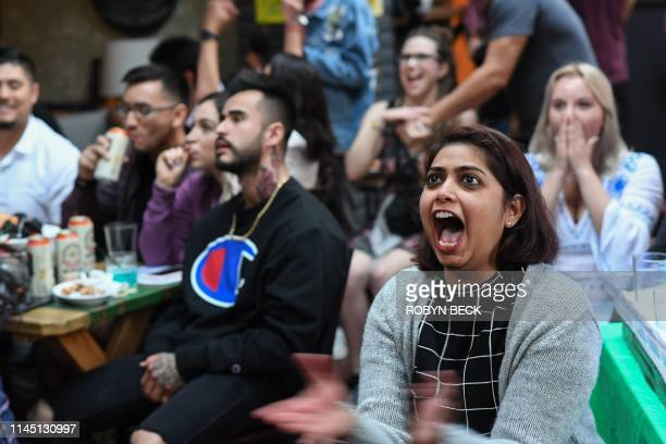"Fans react as they watch HBO's ""Game of Thrones"" series finale at a viewing party at Brennan's bar in Marina del Rey, California, May 19, 2019."