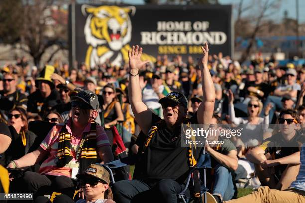 Fans react as they watch the Elimination Final AFL match between the Port Adelaide Power and the Richmond Tigers at ME Bank Centre on September 7...