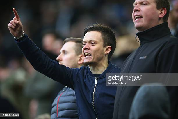 Fans react at the final whistle during the Barclays Premier League match between Newcastle United and AFC Bournemouth at St James Park on March 5...