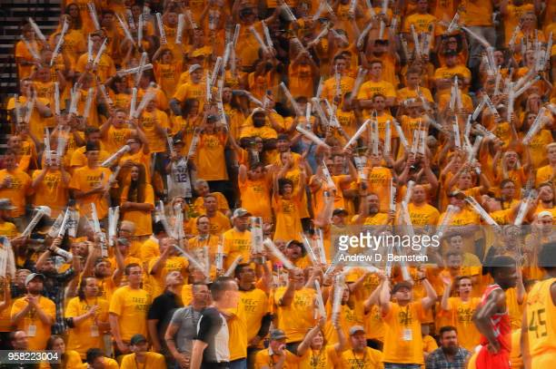 Fans react during Game Four of the Western Conference Semifinals of the 2018 NBA Playoffs between the Utah Jazz and Houston Rockets on May 6, 2018 at...