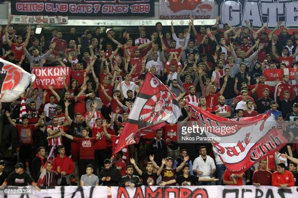 Fans react during the 2016/2017 Turkish Airlines EuroLeague Playoffs leg 2 game between Olympiacos Piraeus v Anadolu Efes Istanbul at Peace and...