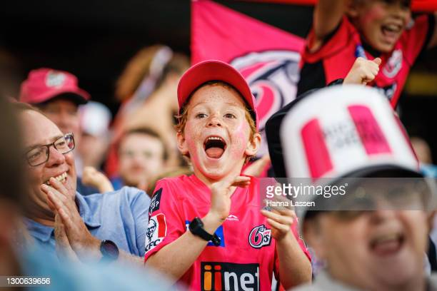 Fans react during the Big Bash League Final match between the Sydney Sixers and the Perth Scorchers at the Sydney Cricket Ground on February 06, 2021...