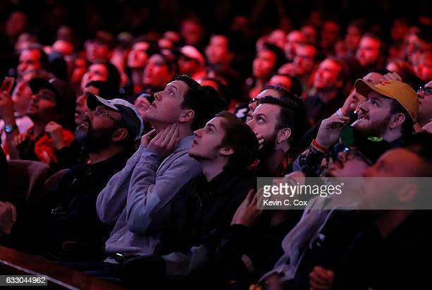 Fans react during the ELEAGUE CounterStrike Global Offensive Major Championship finals at Fox Theater on January 29 2017 in Atlanta Georgia
