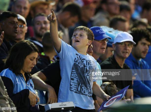 Fans react during the NatWest T20 Blast at The 3aaa County Ground on August 22 2017 in Derby England
