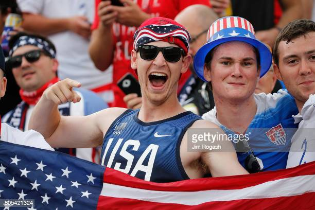Fans react during the pregame activities before an international friendly between USA and Ghana at Pratt Whitney Stadium on July 1 2017 in East...