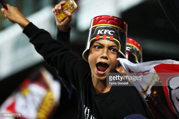 Fans react during the round 5 Super Rugby Aotearoa match between the Chiefs and the Blues at FMG Stadium Waikato, on March 27 in Hamilton, New...
