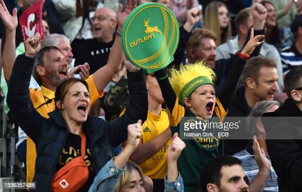 Fans react during the Vitality T20 Blast Quarter Final between Notts Outlaws and Hampshire Hawks at Trent Bridge on August 25, 2021 in Nottingham,...