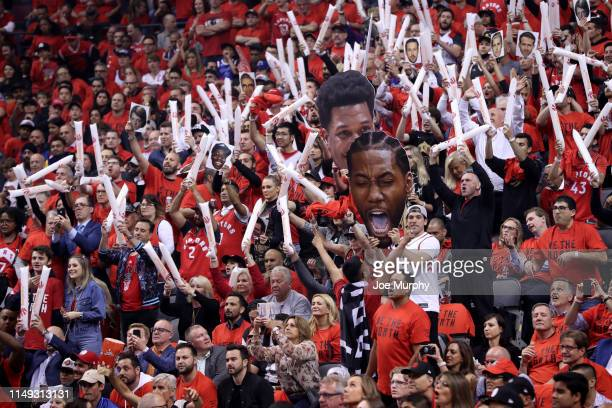 Fans React Game Five of the NBA Finals between the Golden State Warriors and Toronto Raptors on June 10, 2019 at Scotiabank Arena in Toronto,...