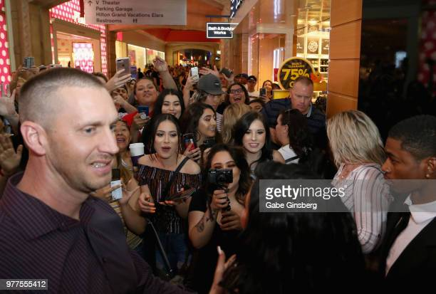 Fans react to Jacyln Hill's arrival during Morphe store opening at the Miracle Mile Shops at Planet Hollywood Resort Casino on June 16 2018 in Las...