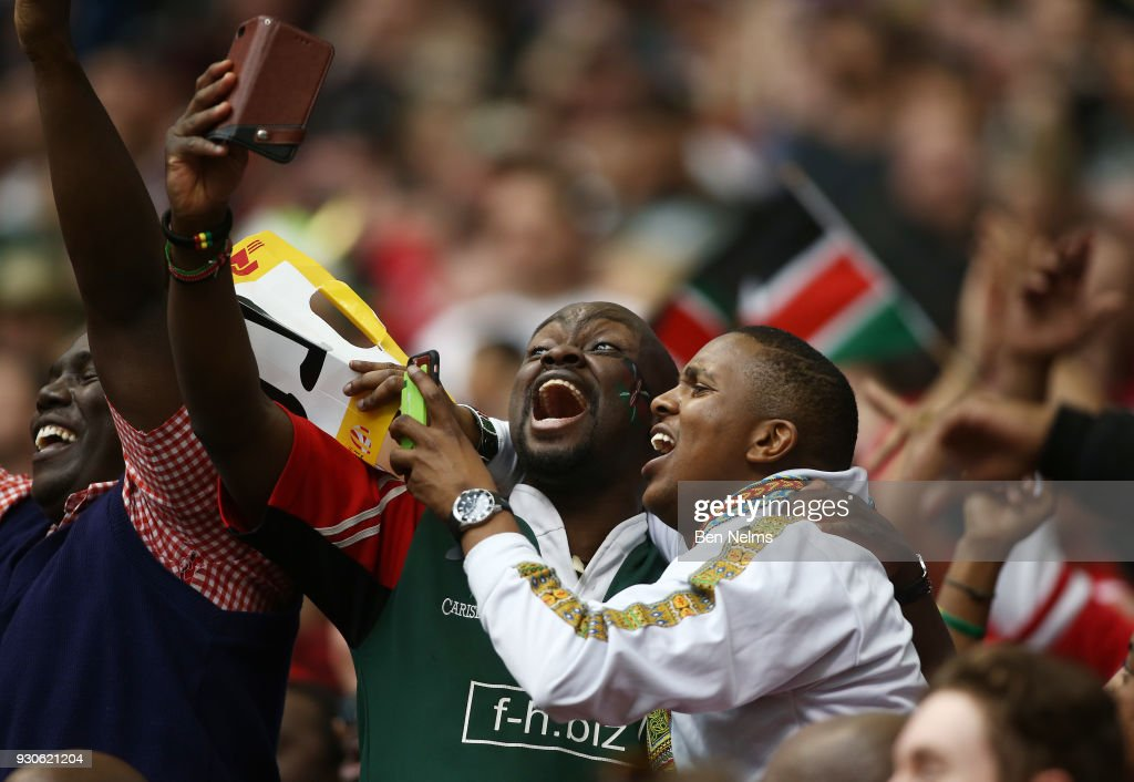 Fans react to Kenya defeating the United States during the Canada Sevens, the Sixth round of the HSBC Sevens World Series at the BC Place stadium Centre on March 11, 2018 in Vancouver, British Columbia, Canada.