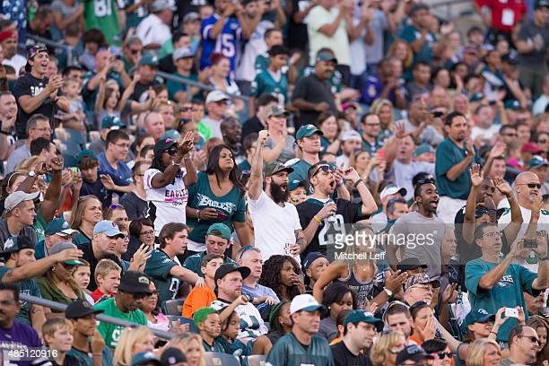 Fans react to Sam Bradford of the Philadelphia Eagles coming into the game against the Baltimore Ravens on August 22 2015 at Lincoln Financial Field...