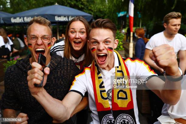 Fans reacting during the UEFA EURO 2020 match between Germany and Hungary at Aachener Weiher in Cologne on June 23, 2021 in Cologne, Germany. Due to...