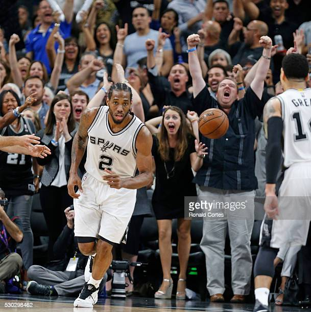 Fans reacts after a basket by Kawhi Leonard of the San Antonio Spurs in game Five of the Western Conference Semifinals during the 2016 NBA Playoffs...