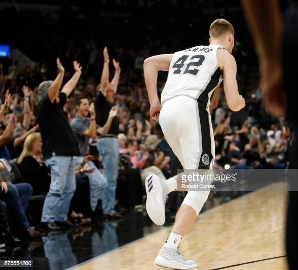 Fans reacts after a three by Davis Bertans of the San Antonio Spurs against the Oklahoma City Thunder at ATT Center on November 17 2017 in San...