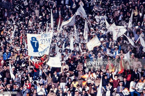 Fans Real Madrid during the European Cup Final match between Liverpool FC and Real Madrid CF at Parc des Princes Paris France on 27th May 1981
