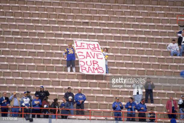 Fans regret that the Los Angeles Rams are leaving LA after this game against the Washington Redskins at the Los Angeles Memorial Coliseum in Los...