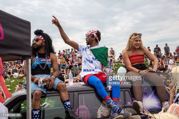 Fans relax and have fun in the party zone during the 103rd running of the Indianapolis 500 at Indianapolis Motor Speedway on May 26 2019 in Indiana