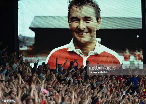 Fans remember Brian Clough during the Sky Bet Championship match between Nottingham Forest and Derby County at City Ground on September 14 2014 in...