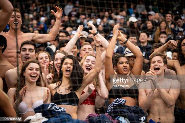 Fans remove items of clothing during a game between the Yale Bulldogs and the Harvard Crimson during a game on November 17 2018 at Fenway Park in...
