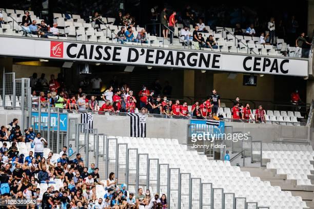 Fans Rennes during the Ligue 1 Uber Eats match between Marseille and Rennes at Orange Velodrome on September 19, 2021 in Marseille, France.