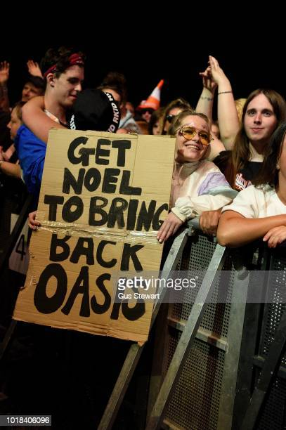 Fans request Liam contacts Noel to reform Oasis at RiZE Festival on August 17, 2018 in Chelmsford, United Kingdom.