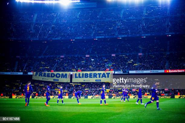 Fans roll out banners saying 'Freedom' in support of the Catalonian independence prior to the La Liga match between FC Barcelona and Girona at the...