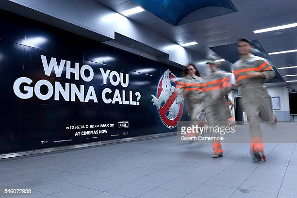 Fans run through a commuter tunnel at Waterloo Station on July 11, 2016 in London, England. Ghostbusters take over Waterloo Station as Stay Puft...
