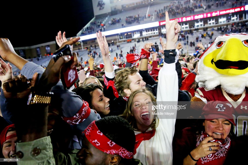 Fans rush the field after the Boston College Eagles defeat the Florida State Seminoles 35-3 at Alumni Stadium on October 27, 2017 in Chestnut Hill, Massachusetts.