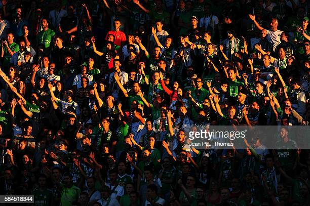 Fans Saint Etienne during the Third Qualifying Round Europa League between Saint Etienne and AEK Athnes at Stade GeoffroyGuichard on July 28 2016 in...