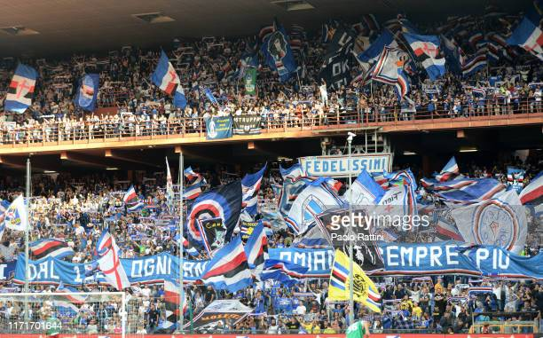 Fans Sampdoria during the Serie A match between UC Sampdoria and FC Internazionale at Stadio Luigi Ferraris on September 28 2019 in Genoa Italy