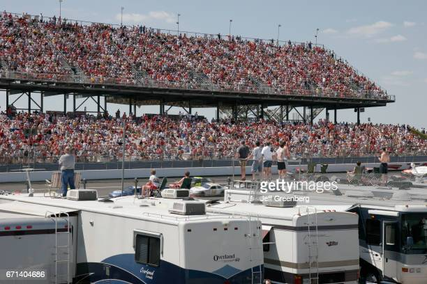Fans sat on top of their motorhomes at Aaron's 499 NASCAR Nextel Cup Series