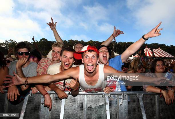 Fans scream as Young MC performs on stage on day two of the Falls Music Festival on December 30 2011 in Lorne Australia