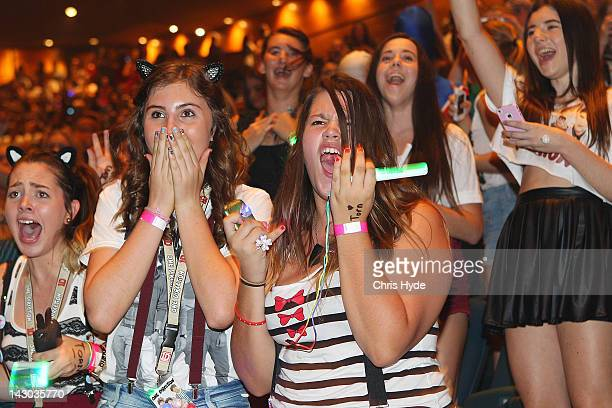 Fans scream during the One Direction concert at The Brisbane Convention and Exhibition Centre on April 18 2012 in Brisbane Australia