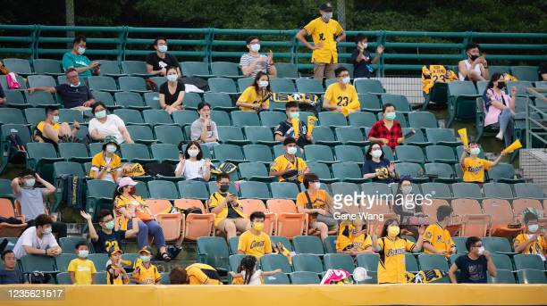 Fans seat at the outfiield at the CPBL game between Fubon Guardians and CTBC Brothers at the Xinzhuang Baseball Stadium on May 30 2020 in New Taipei...