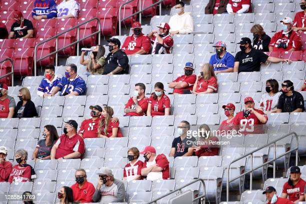 Fans, seated in separate groups, watch the game the first half between the Buffalo Bills and the Arizona Cardinals at State Farm Stadium on November...
