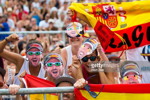Fans seen during Day 9 of the FIVB Beach Volleyball World Championships 2017 on August 5 2017 in Vienna Austria